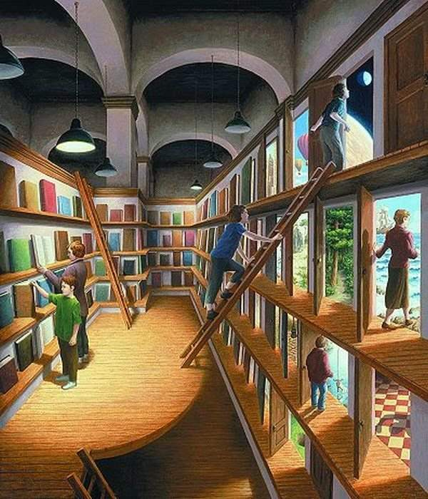creative-library-painting-illusion