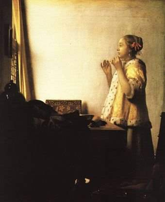 """Vermeer, """"Woman with a Pearl Necklace"""" (1662-1664)"""